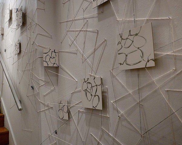"Installation at The Loft at Liz's ""The Drawing Show"" curated by Betty Ann Brown String Wall with Drawings detail"