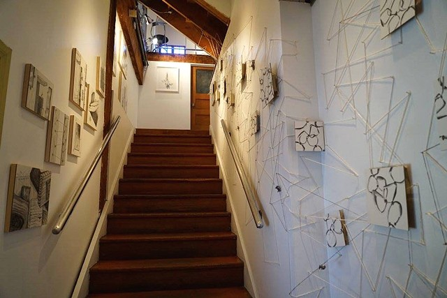 "Installation at The Loft at Liz's ""The Drawing Show"" curated by Betty Ann Brown String Wall with Drawings"