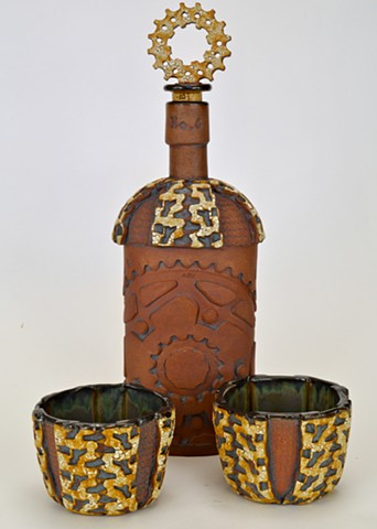 Bourbon Bottle and Cups