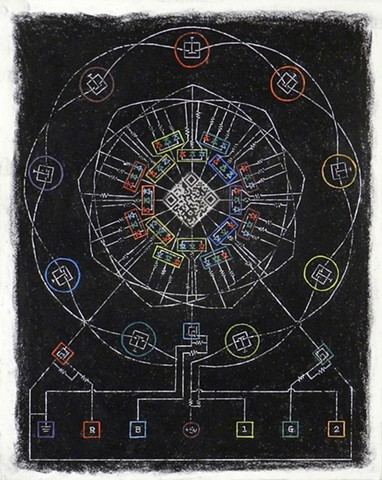 second in a series of QR Mandala drawings turning circuit diagrams into cosmological diagrams