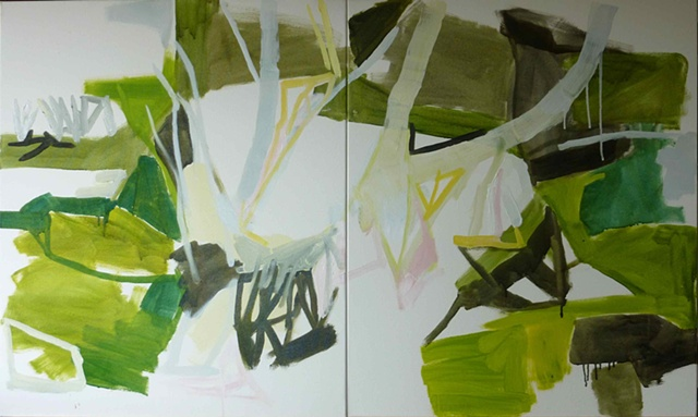 wetlands, paperbarks diptych