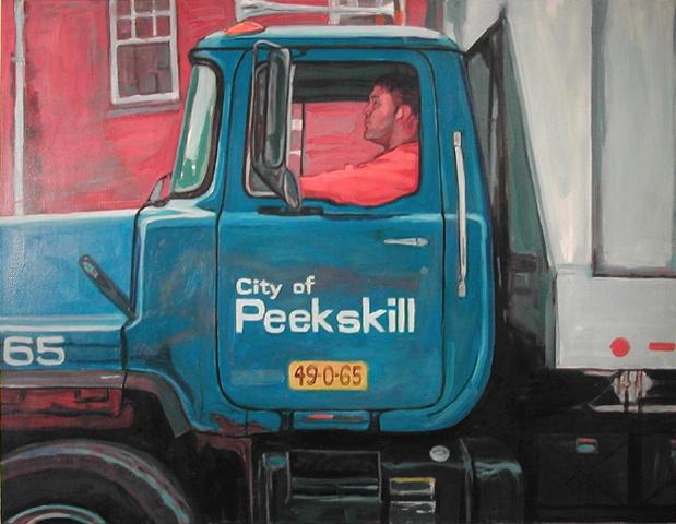 Worker in Garbage Truck