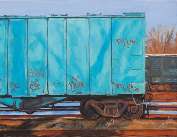 Blue Train Car