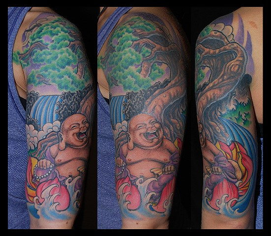 Buddah and tree (upper arm)