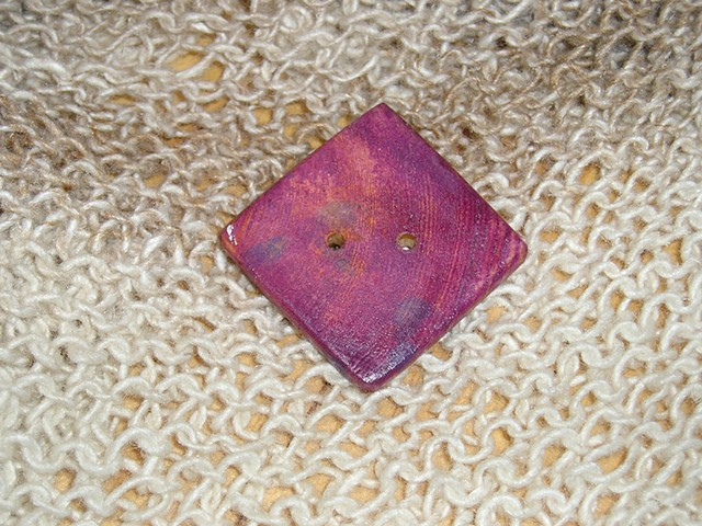 Square Purple Hand Cut Wood button