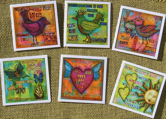 Set of 6, Happy Thoughts Art Cards
