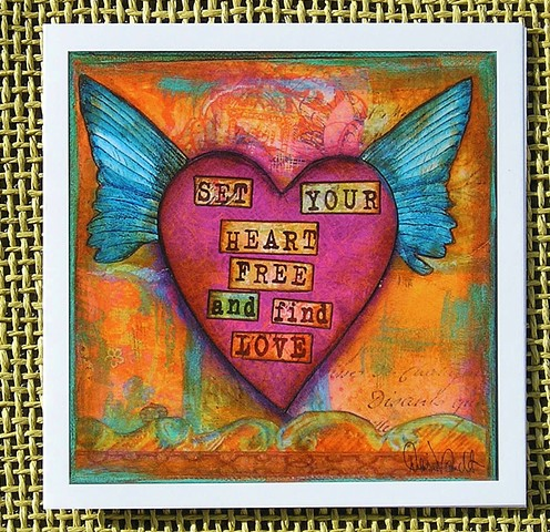 Set Your Heart Free   Blank Art card