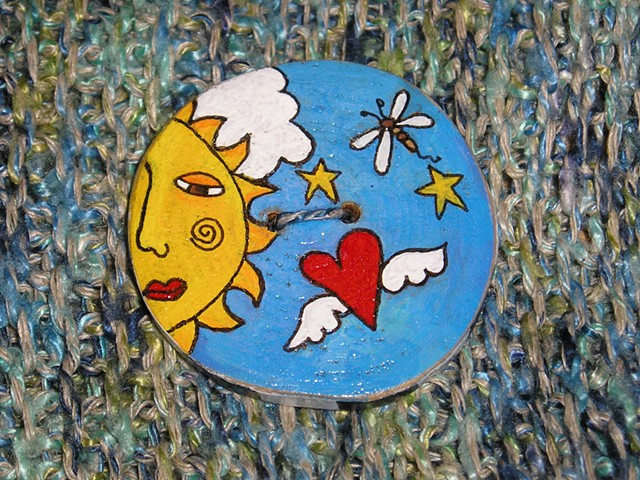 Sun and winged Love Button #2