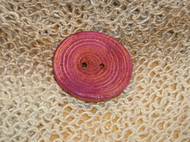 Round Purple Hand Cut Wood button