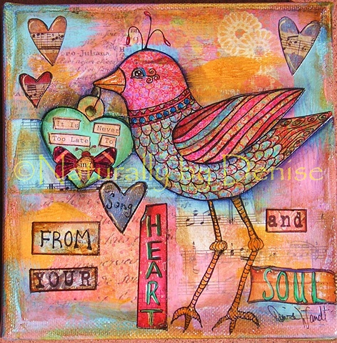 Sing from your Heart and Soul! Mixed Media Original