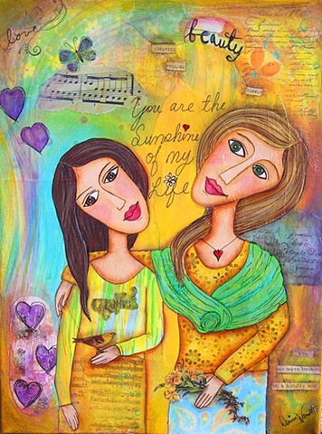 Mother Daughter Mixed Media