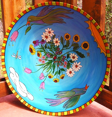 Beautiful Hand Painted Bamboo bowl