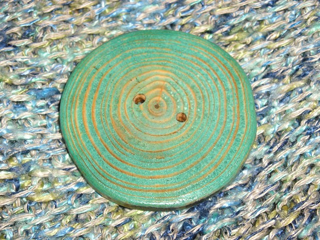 Round Teal Hand Cut Wood button