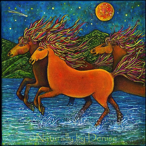 Wild Horses in the Moon light 3D / Art Print