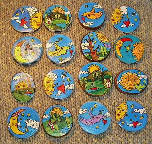 Whimsical,handmade, hand painted wooden buttons.
