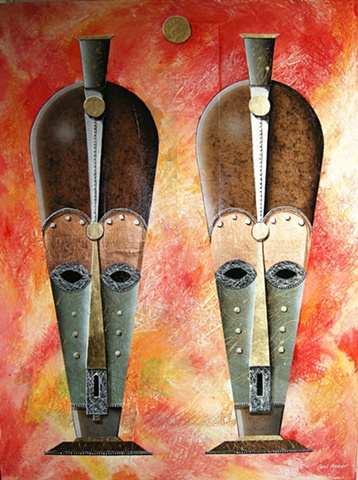 acrylic african mask paintings by Carl Lopes