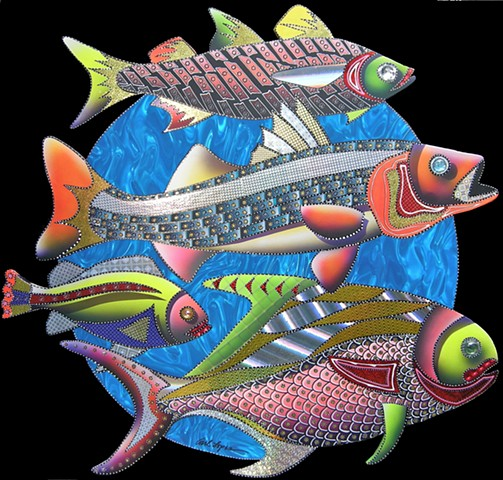 fish paintings, acrylic paintings, paintings, carl lopes