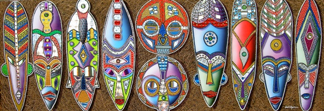 african masks, carl lopes, acrylic paintings, paintings