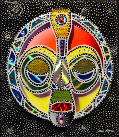 acrylics, acrylic paintings, Carl Lopes, african mask paintings, masks, mask paintings