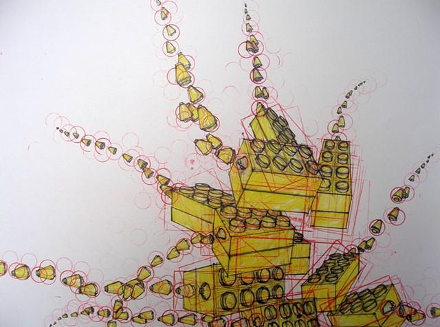 ink, color pencil on Bristol paper