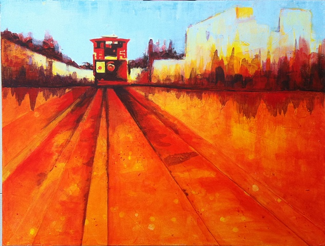 Omni Hotel Convention Center, Dallas, TX, dallas artist, texas themed, acrylic paint, trolley, dallas
