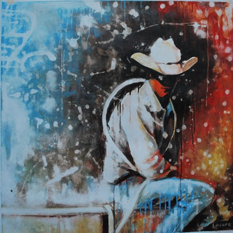 Arts in Dallas, Texas themed painting, cowboy painting, acrylic, paintings, dallas artist