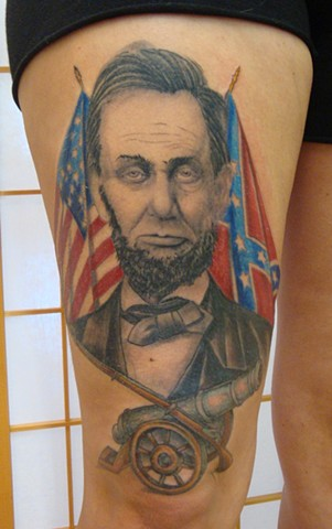 Steve Anderson, 920 Tattoo, 920 tattoo co, 920 Tattoo Company, oshkosh, Abe, Abe Lincoln, Abe linciln tattoo, tattoo, tattoos, civil war, civil war tattoo, thigh tattoo