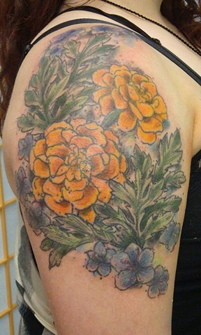 Water color Marigolds, Violets and Wormwood. 2015