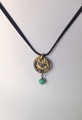 Timeless links jewelry by elena herrera phyllis slocum brass and cut steel button necklace with turquoise charm aloadofball Choice Image
