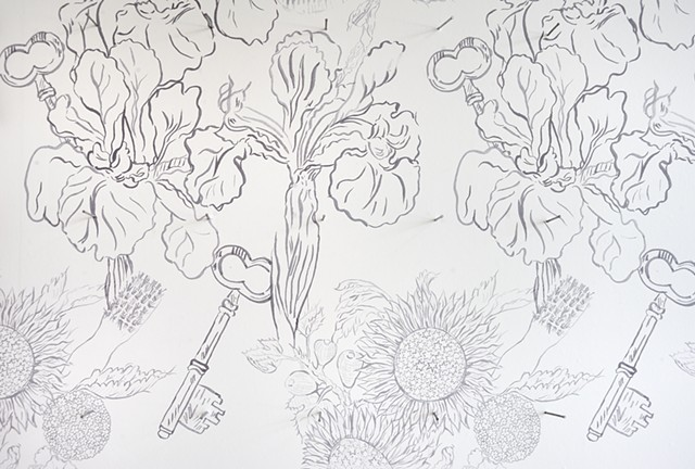 Exquisite Spectacle: detail of wallpaper designed by Francesca Bozzelli