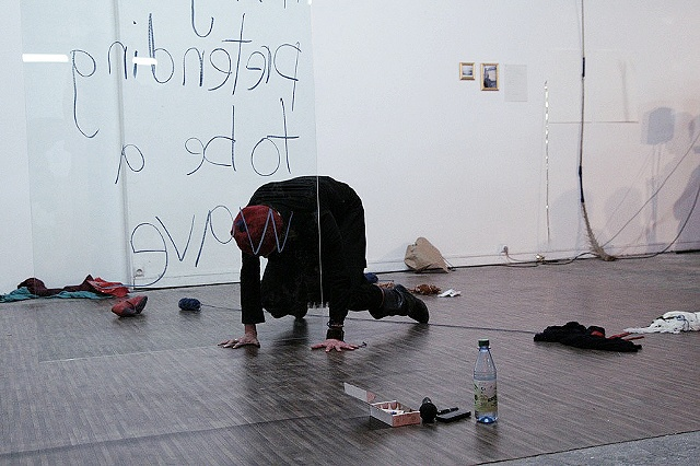 Hello for the Pleasure of Goodbye performance [ 15 min ] + installation Pavillon, Palais de Tokyo, Paris [artist in residence 2007-08] created and performed in residency