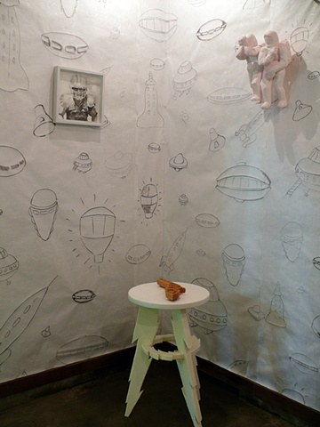 UFO Wallpaper with Football Player, Adam and Eve and Revolver with Lighting Bolt Table