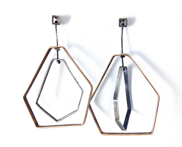 E-Mobile earrings bronze or brass, oxidized sterling silver, mobile, kinetic, movable, sculptural, hexagon, 2-tone