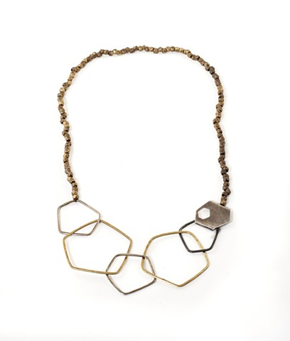 necklace, silver and brass hammered wire forms; hexagon, pentagon, organic, oxidized