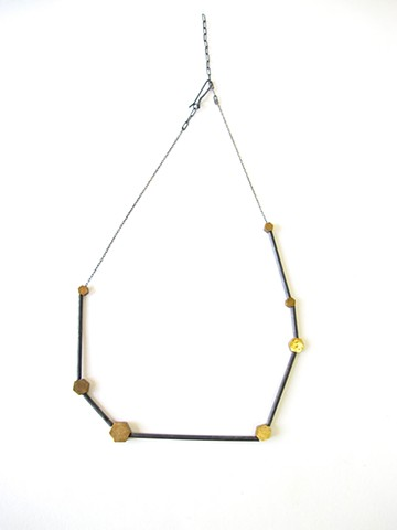 necklace silver brass oxidized hexagons pleiades constellation jennifer bennett dilucedesign