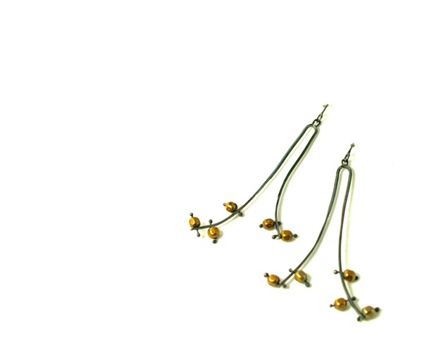 E-GROD goldenrod earring. oxidized silver with hollow brass beads.