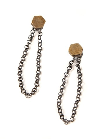 earrings, hexagon, silver, brass, oxidized, Seattle, rolo chain, chain behind ear, nature, modern,