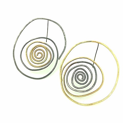E-FROND jewelry, earring,silver, brass, spiral, organic, wire, hammered, botanical, dimensional, bold,