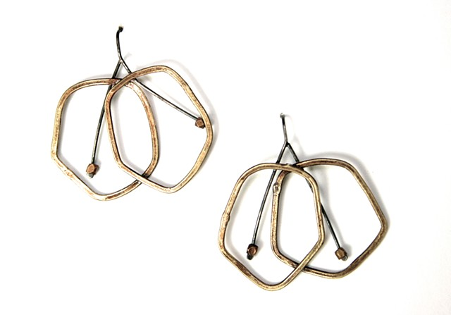 E-CHR Cherry earring made of ox, brass and silver by Jennifer Bennett of Di Luce Design