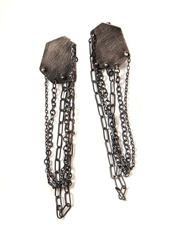 silver, earring, cloud, hexagon, chain, oxidized, post, seattle,