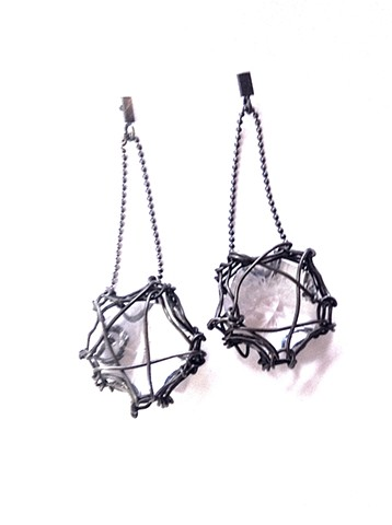 E-DGBF (diamonds are a girl's best friend) Reclaimed chandelier crystals, steel, and oxidized silver hand made by Jennifer Bennett