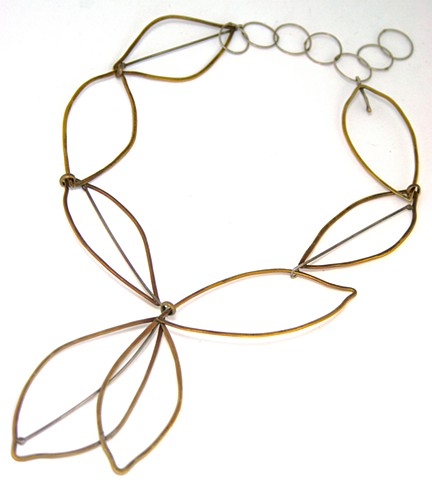 N-LEAF Oxidized brass and silver leaf necklace by Jennifer Bennett of Di Luce Design