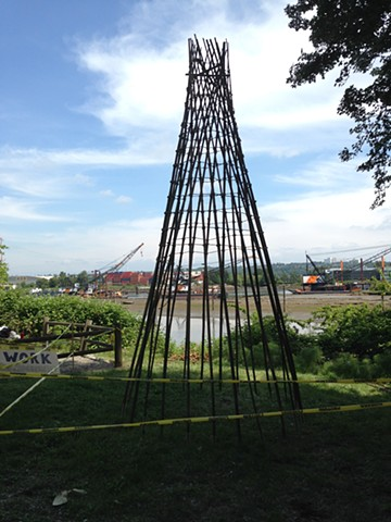 Fish Trap Sculpture: Duwamish Revealed, bamboo, sisal, site-specific art