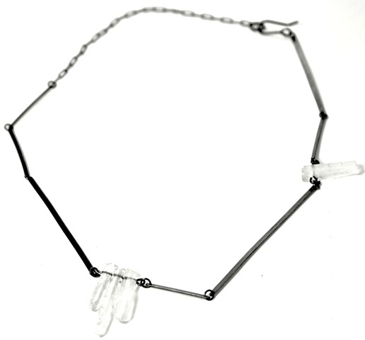 N-CRYSTLINE Quartz crystal with oxidized silver line necklace by Jennifer Bennett of di luce design
