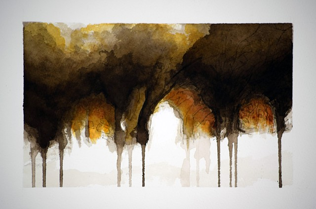 Art Trees Wood Ink Drawing Painting by Ian Crawley