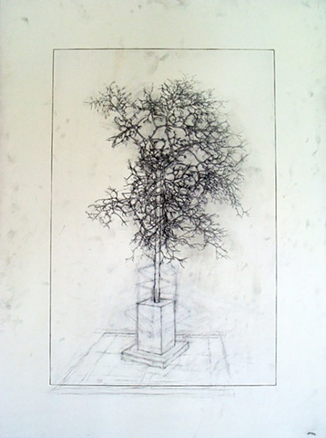 """Ian Crawley Art Graphite Drawing Insignificant Series 3 """"East View"""" by Ian Crawley"""