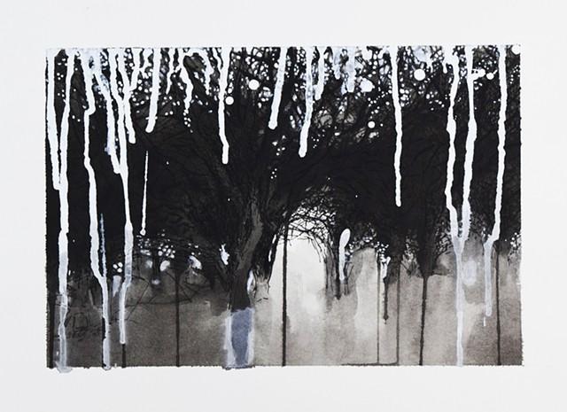 Art Trees Wood Ink Drawing by Ian Crawley