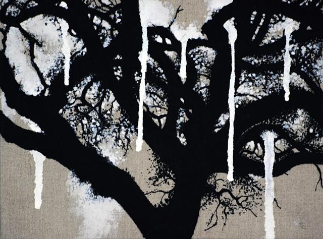 Ian Crawley Art Tree Branch Abstract Ink Painting