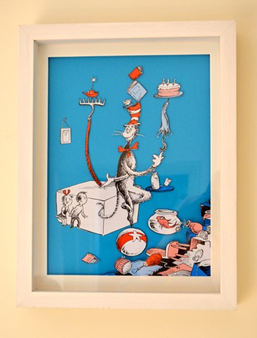'Cat in the Hat', cut up book collage picture