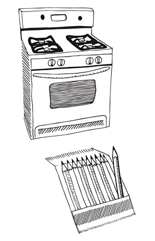 Oven and pencils